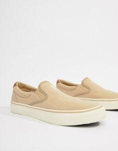 Read more about Polo ralph lauren thompson 2 pique slip on plimsolls leather trims in beige - coastal beige