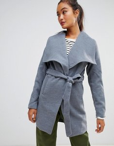 Read more about Parisian waterfall coat with tie belt detail - mid grey