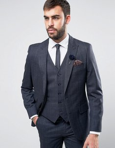 Read more about Harry brown navy heritage check suit jacket - navy