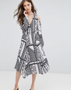 Read more about Miss selfridge cold shoulder patchwork print midi dress - lilac print