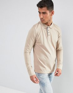Read more about Brave soul long sleeve pique polo shirt - cream