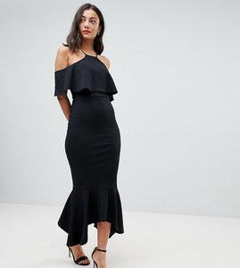 Read more about Asos tall ruffle cold shoulder asymmetric pephem midi dress - black