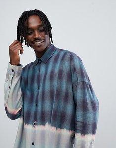 Read more about Asos design regular fit longline dip dye check shirt - blue