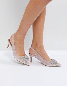 Read more about Asos susanna embellished slingback kitten heels - pale pink velvet