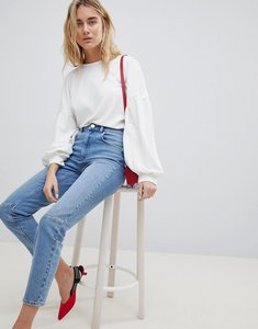 Read more about Asos design farleigh high waist slim mom jeans in mid wash with knee seam detail - stephanie