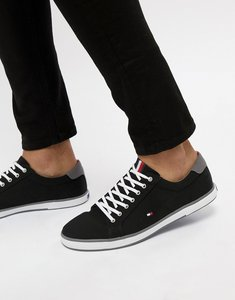 Read more about Tommy hilfiger harlow lace up canvas plimsolls in black - black