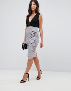 Read more about Ax paris midi 2-in-1 dress with frill ruffle - black pewter