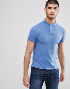 Read more about Polo ralph lauren slim fit pique polo in blue marl - deco blue heather