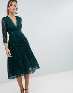 Read more about Asos long sleeve lace midi prom dress - forest green