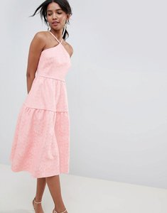 Read more about Asos design tiered lace prom dress - rose