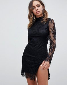 Read more about Motel long sleeved lace dress with cut out back and thigh split