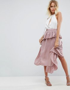 Read more about Asos deconstructed midi skirt in satin - dusty mauve