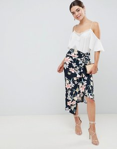 Read more about Asos design floral print midi skirt with tie side and thigh split - multi