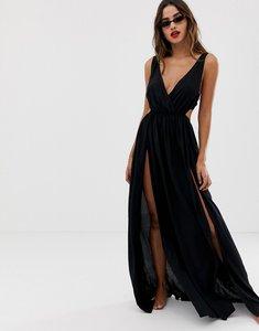 e9168ce1411be Read more about Asos design tie back cross front split maxi beach dress in  black