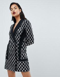 Read more about Prettylittlething premium black sequin blazer dress - black