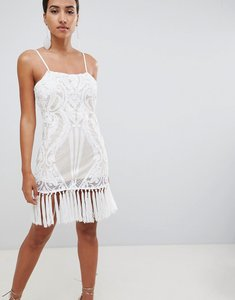 Read more about In the style placement sequin strappy tassel hem mini dress - white