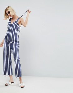 Read more about Asos v neck jumpsuit in stripe with tie shoulder detail - multi stripe