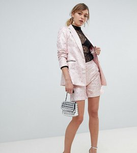 Read more about Sister jane tailored shorts in gold leaf jacquard - dusty pink