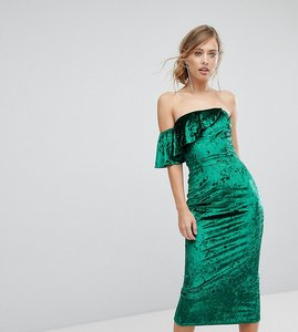Read more about True violet velvet midi dress with frill detail - green