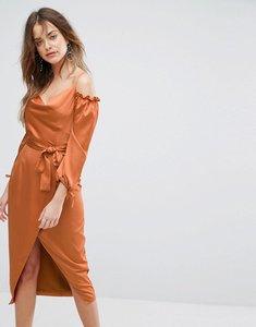 Read more about Lavish alice rust satin bardot tie midi dress - rust
