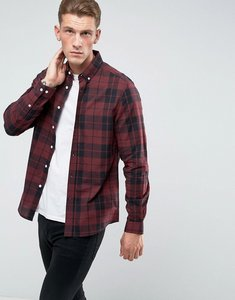 Read more about Asos stretch slim poplin check shirt in burgundy - burgundy