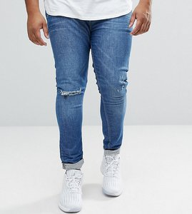 Read more about Asos plus super skinny jeans in mid wash blue with rip and repair - mid wash blue