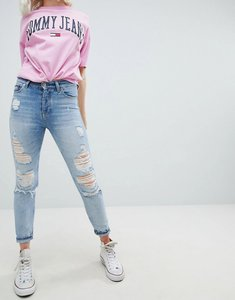 Read more about Tommy jeans izzy high rise slim jean with exaggerated rips - lightwash denim