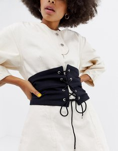 Read more about Asos panelled fabric corset belt - black