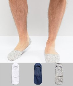 Read more about Bershka invisible socks 3 pack in multi - grey