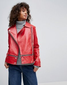 Read more about Neon rose faux leather zip hem biker jacket - red
