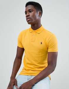 Read more about Polo ralph lauren slim fit pique polo player logo in yellow - yellow