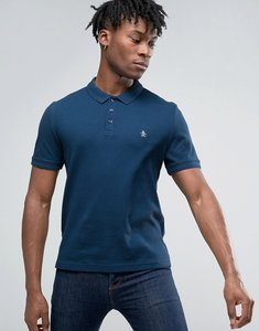 Read more about Original penguin waffle polo slim fit small logo in dark denim - dark denim