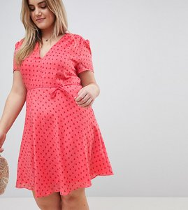 Read more about Glamorous curve mini tea dress with tie waist in ditsy rose - coral rose bud
