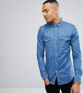 Read more about Asos tall skinny denim western shirt in mid wash - mid wash