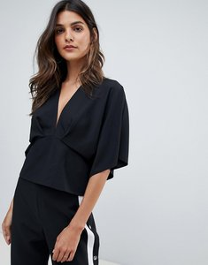 Read more about Asos design plunge top with batwing - black