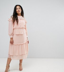 Read more about Truly you victoriana tiered midi dress in dobby lace - pink