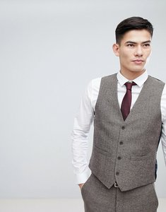 Read more about French connection semi plain donegal slim fit waistcoat - tan