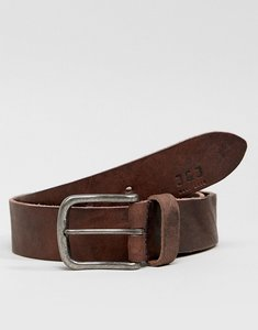 Read more about Jack jones leather belt with vintage buckle - black coffee