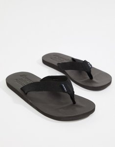 Read more about Abercrombie fitch tab logo flip flops in black - black