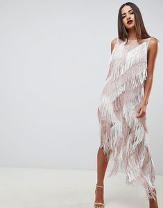 Read more about Asos design zig zag fringe midi dress - dusty pink and white