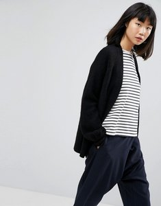 Read more about Asos chunky cardigan with volume sleeves - black