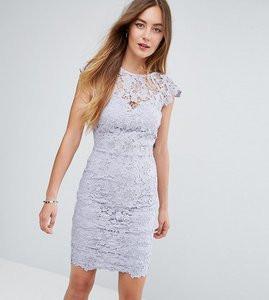 Read more about Paper dolls tall mini lace dress with scalloped back - oyster grey