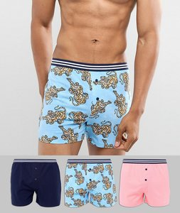 Read more about Asos jersey boxer with tiger print striped waistband 3 pack - multi