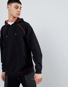 Read more about Asos design oversized hoodie in red with contrast stitching - black crimson