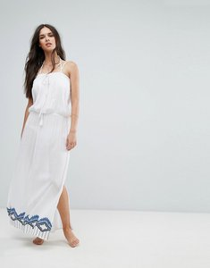 Read more about Liquorish embroidered beach maxi dress with embroidered hem and coin trim - white