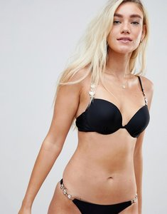 Read more about Missguided jewel detail bikini top - black