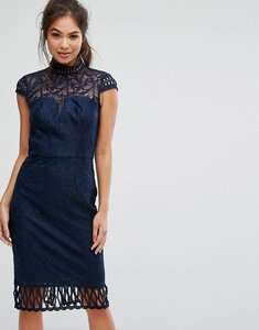 Read more about Chi chi london cap sleeve lace pencil dress in cutwork lace and high neck - navy