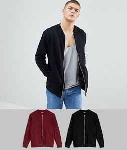 Read more about Asos design jersey bomber jacket 2 pack black burgundy save - black cabernet