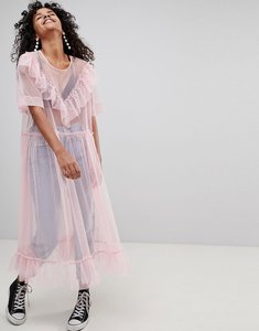 Read more about Monki ruffle tulle dress - pink