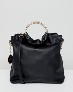 Read more about Faith slouch tote bag with circle handle - black